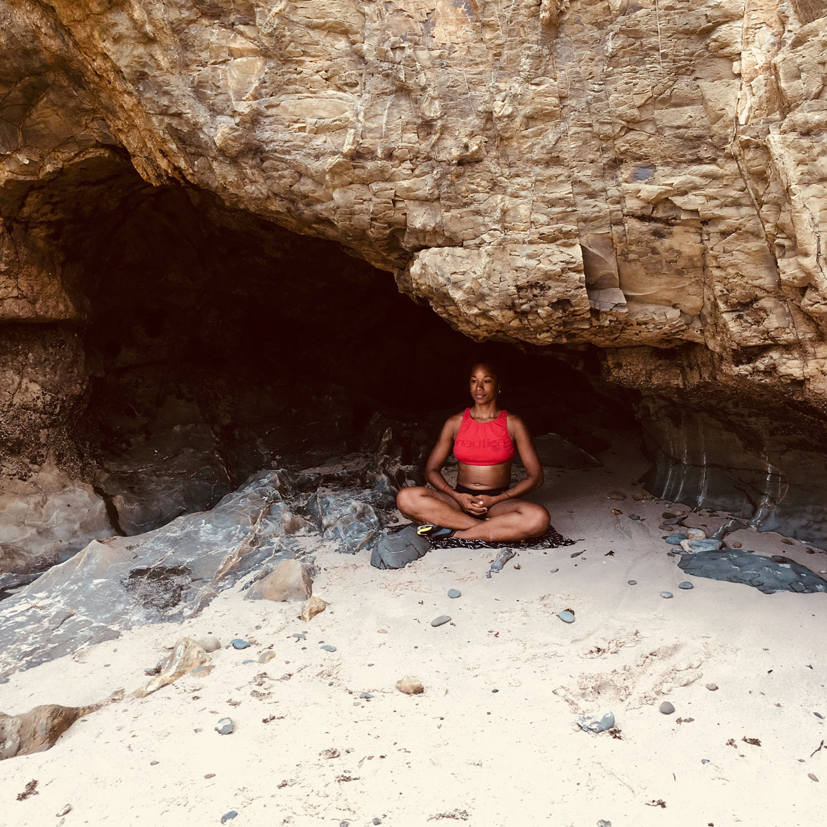 meditating in cave